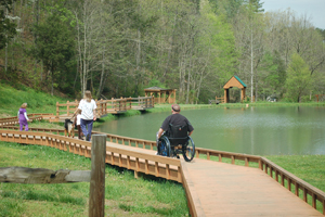 Wheelchair accessible cabin rentals near pigeon forge for Smoky mountain cabins with fishing ponds
