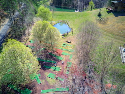 View of Little Valley Mountain Resort min-golf course and fishing pond